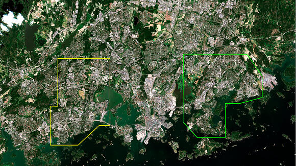 Using satellite data to analyse the correlation between housing prices and nearby green areas