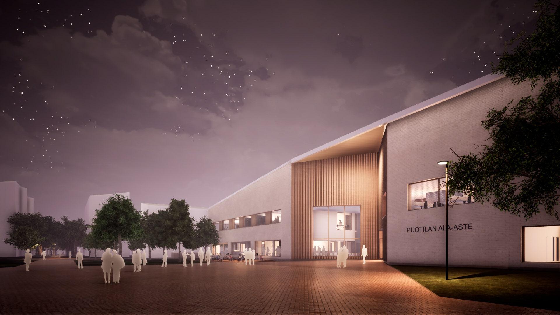 Puotilan ala-asteen tilat tuodaan kaikkien kuntalaisten käyttöön. Koulurakennuksen runko toteutetaan hiilijalanjäljeltään kompensoiduista betonielementeistä.