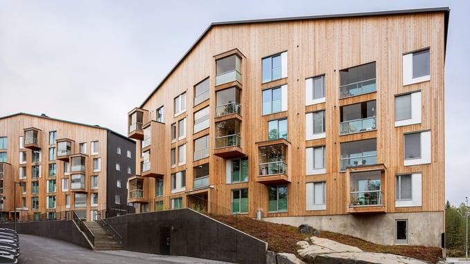 Puukuokka edustaa ekologista puurakentamista kerrostaloissa. A-Insinöörit vastasivat puukerrostalon suunnittelusta.