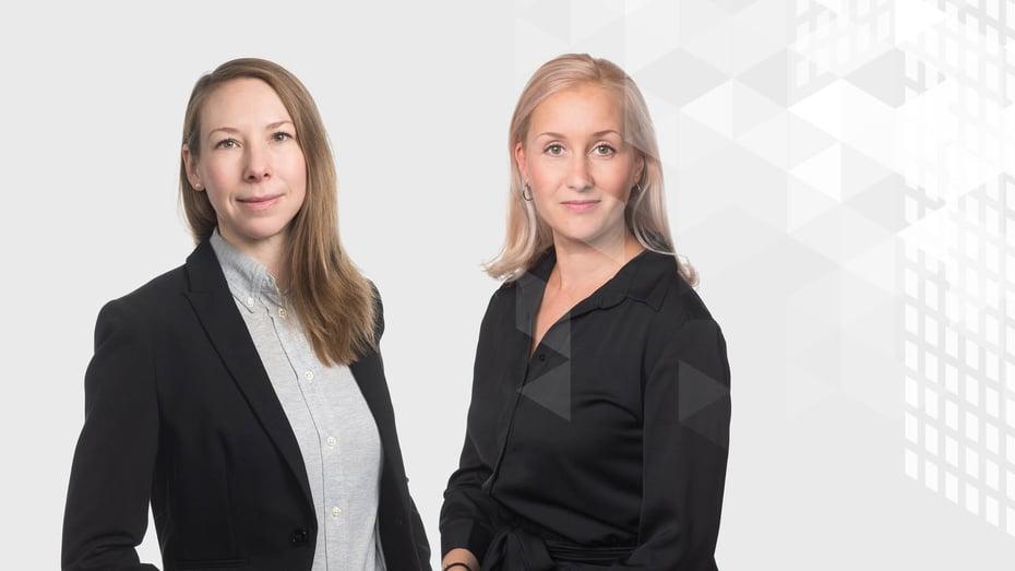 Vähähiilinen rakennuttaminen -webinaarin asiantuntijoina Liisa Jäätvuori ja Hannele Ahvenniemi.