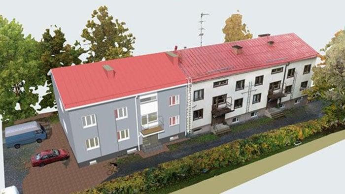3D-mallin avulla eri korjausvaihtoehdot ja niiden visuaalinen ilme on helppo havainnollistaa taloyhtiön päättäjille ja asukkaille.