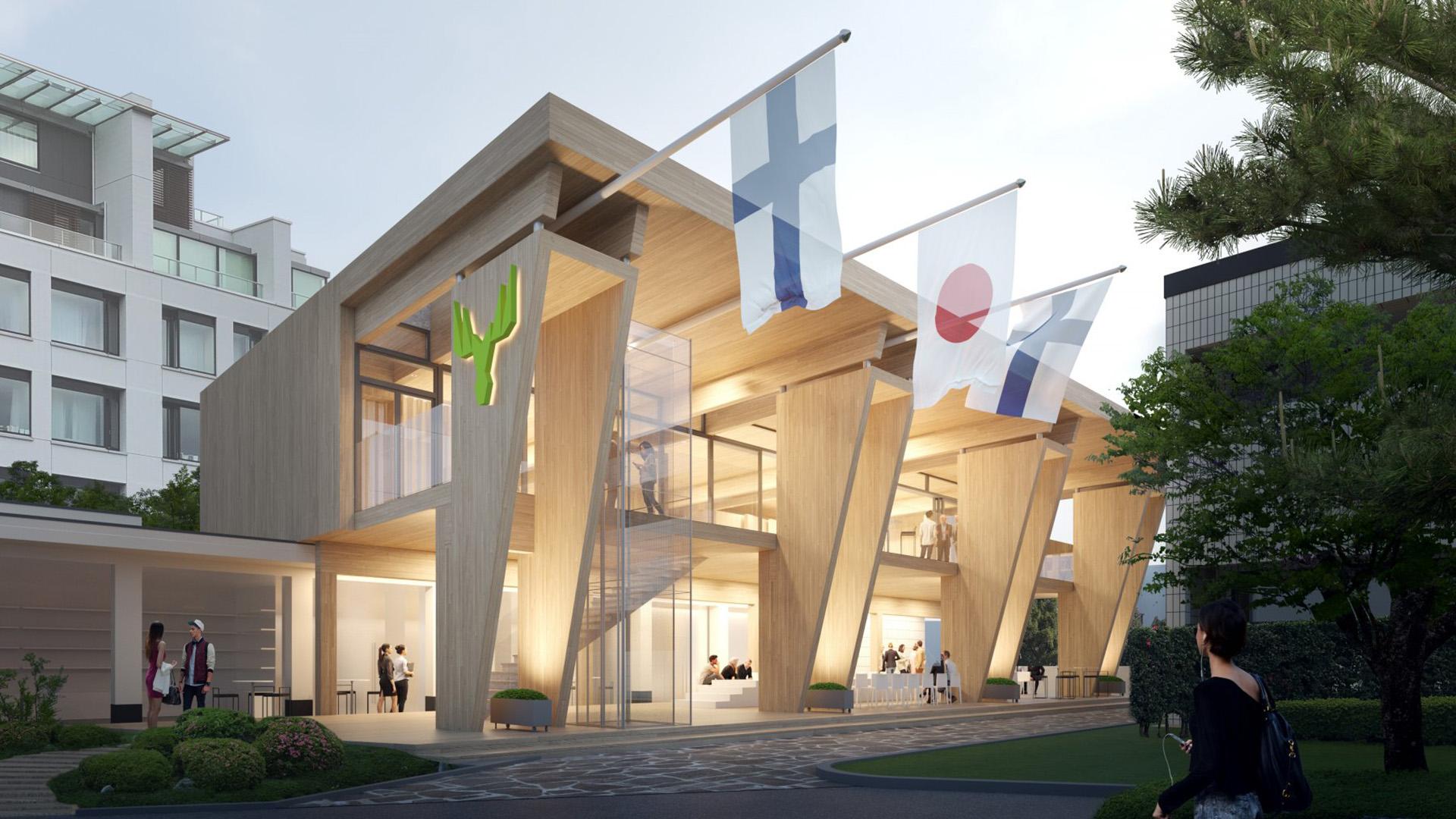 Puuelementti on pääroolissa Tokion olympialaisten Suomen paviljongissa